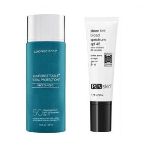 ColoreScience's Sunforgettable Total Protection Face Shield and PCA's Sheer Tint Broad Spectrum SPF 45