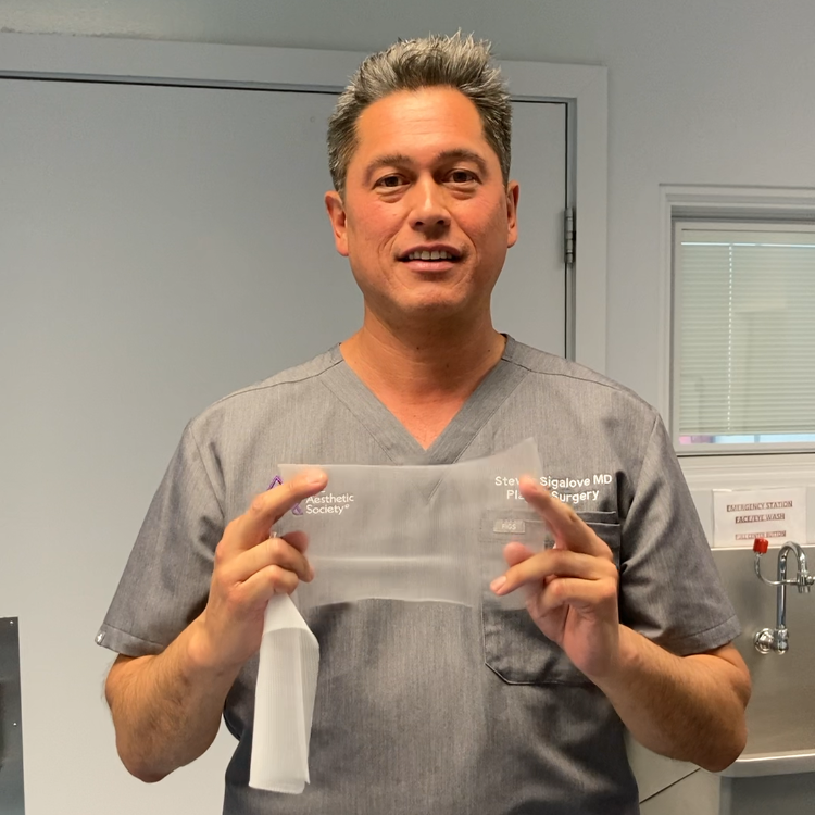 Dr. Sigalove shows off GalaFLEX LITE for revision breast surgery